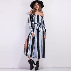 dd5bc0593ac7  NewYear  CHICUU -  CHICUU Elegant Striped Off Shoulder High Split Tie  Waist Women s Maxi Shirt Dress - AdoreWe.com