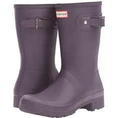 Hunter Original Tour Short (Purple Urchin) Women's Shoes ($140) ❤ liked on Polyvore featuring shoes, boots, ankle booties, mid-calf boots, hunter boots, bootie boots, ankle boots, short ankle boots and short rain boots