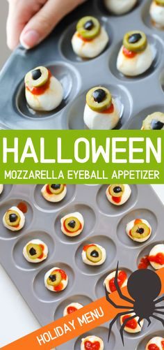 Halloween Mozzarella Appetizer Tray , Halloween appetizers are so much fun to make. From throwing up pumpkins, to fingers in a blanket, its time to make some food that will gross out your party but still have everyone saying MMM! These mozzarella eyeballs Plat Halloween, Halloween Food For Party, Women Halloween, Halloween Makeup, Halloween Recipe, Halloween Ideas, Halloween Costumes, Halloween City, Halloween College