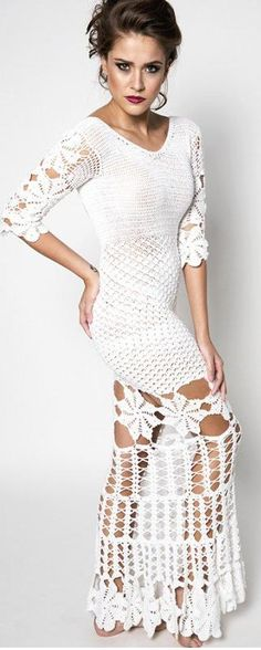 white crochet dress by Katia Portes