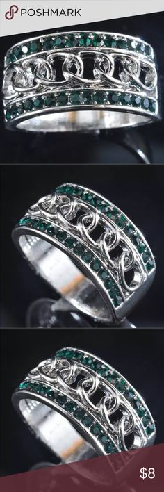Awesome Platinum Filled Emerald Green CZ Ring Product weight 6 Gram Ring size 7 Metal Silver Filled platinum Setting handcrafted jewelry, Prong Setting They are much nicer than the photo can show! Jewelry Rings
