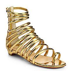 christian louboutin metallic leather flat sandals