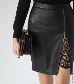 b6dc0c045000 черная юбка карандаш из кожи ягненка с подъюбником из мягкого кружева Abiti  Gonna Di Pelle