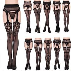 Womens Sheer Sexy Fashion Lace Top Thigh-Highs Stockings & Garter Belt Suspender #UnbrandedGeneric #ThighHighs