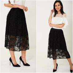 Womens Black Lace Midi Skater Skirt Elasticated Waist 8 10 12 14 16 18 Goth NEW Midi Skater Skirt, Day Dresses, Summer Dresses, Vintage Gothic, Black Laces, Floral Lace, New Look, Beachwear, Casual