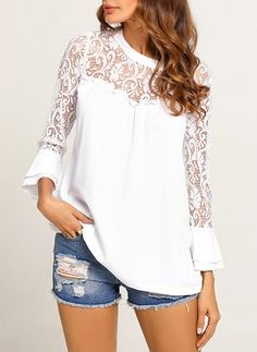 Latest fashion trends in women s blouses shop online for fashionable ladies blouses at floryday your favourite high street store Stylish Outfits, Fashion Outfits, Girls Blouse, Blouses For Women, Ladies Blouses, Women's Blouses, Bell Sleeve Blouse, Lace Sleeves, Lace Tops