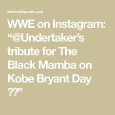 "WWE on Instagram: ""@Undertaker's tribute for The Black Mamba on Kobe Bryant Day 💜💛"" Undertaker, Black Mamba, Kobe Bryant, Wwe, Instagram"