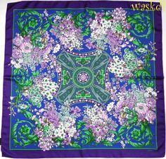 "VERSACE blue / purple Border BAROQUE Lilac BOUQUETS silk 34"" scarf NEW Authentc #Versace #Scarf"