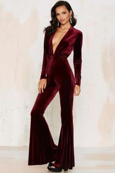 Bell It Like It Is Velvet Jumpsuit - Red - Clothes | Rompers + Jumpsuits | Best Sellers | Party Shop