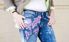 Paint your own pretty cherry blossom jeans.