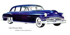 DeSoto 8 P Sedan 1952 Blue | Mad Men Art | Vintage Ad Art Collection