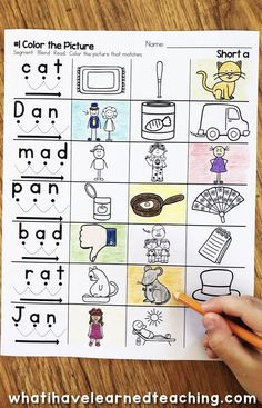 Do you need some new phonics activities?  These Short A Phonics Worksheets give students practice reading and writing short a CVC words.  On this page, students read the word using blending cues and color the picture. This is a great no-prep printable for kindergarten word work centers and covers all of the short a CVC words taught in kindergarten and first grade reading.. #kindergartenworksheets #shortaworksheets #phonicsworksheets #phonicsprintables