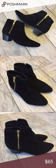 Topshop Suede Booties Topshop black Suede booties!! In excellent condition. Extremely comfortable and perfect for the fall. Topshop Shoes Ankle Boots & Booties