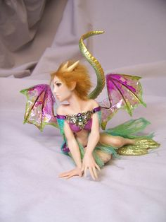 custom ooak pure sculpted Dragon fairy or by redwyvernstudio