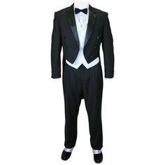 3-piece Black Tuxedo White Vest ($164) ❤ liked on Polyvore featuring outerwear, vests, white tuxedo, white waistcoat, vest waistcoat, tuxedo vest and vest tuxedo