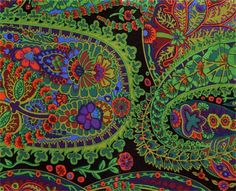 Paisley Jungle Moss Cotton Fabric by Kaffe Fassett, Westminster