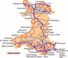 Data Wales: Road map of Wales Severn Bridge, Wales Map, Milford Haven, Aberystwyth, Cymru, Swansea