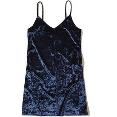 Hollister Velvet Slip Dress ($45) ❤ liked on Polyvore featuring dresses, navy, cami slip dress, strappy cami, navy dress, navy camisole and v neck cami