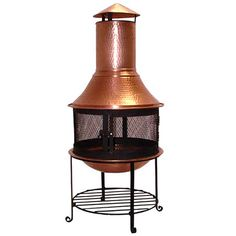 Copper wood-burning chiminea with a spark guard screen. Product: Chiminea Construction Material: Copper Color: Hammered copper Features: Rain cap Log grate Ability to withstand constant exposure to heat, cold, sun and moisture Dimensions: H x Diameter Copper Wood, Pure Copper, Hammered Copper, Joss And Main, Outdoor Retreat, Outdoor Decor, Outdoor Living, Outdoor Fun, Fire Pit Uses