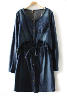 Blue Patchwork Drawstring Single Breasted Pocket Denim Dress