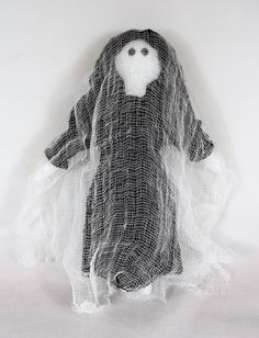 Halloween Ghost In Black - Decoration Or Toy Doll - For Kids / Adults - Handmade