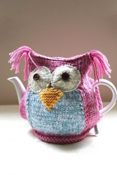 Hand-knitted tea cosy in a quirky owl design
