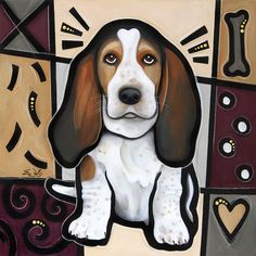 """Decorate your space with a unique pop art masterpiece of your favorite pup. """"Basset Hound Pop Art"""" wall art print by Eric Waugh. See more sizing options and more of the Pop Art Dogs Collection at CanvasOnDemand.com."""