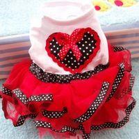 Los detalles acerca de Pet Dog dulce princesa Tutu Dress ropa impresión del corazón del amor del Bowknot de la falda del partido envío gratuito