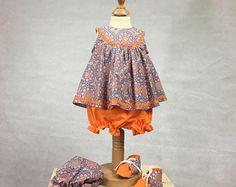 Vintage inspired sun dress and bloomers - Girls Summer dress - Girls Dress