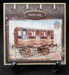 Vintage train carriage card with layers on Craftsuprint designed by Angela Wake - made by Michelle  Chivers