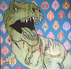 """Kvinde, kend din krop"", dinosaurpainting by Lisbeth Sahl, 80x80cm, acryl on canvas, www.lisbethsahl.dk"