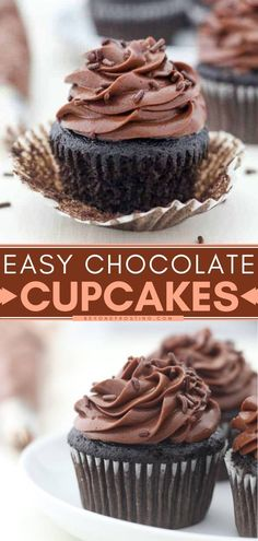11 reviews · 30 minutes · Vegetarian · Serves 24 · One of your new go-to easy chocolate desserts! This moist and fluffy homemade chocolate cupcake recipe is the BEST. Plus, the chocolate cream cheese frosting just melts in your mouth! Save this pin! Moist Cupcake Recipes, Easy Chocolate Cupcake Recipe, Homemade Cupcake Recipes, Super Moist Chocolate Cake, Homemade Chocolate Frosting, Best Chocolate Desserts, Chocolate Flavors, Baking Recipes, Chocolate Cream