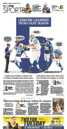 Indianapolis Star: 5 lessons learned from Colts season #Newspaper #GraphicDesign #Layout