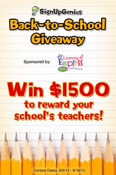 The SignUpGenius Back-to-School Giveaway sponsored by Learning Express Toys will give away $1500 to one lucky school! Enter to win and reward your teachers! #BackToSchool #Giveaway #STEM ECHS PTSA in Raleigh, NC