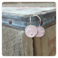 Simple Hammered Silver Pink Tourmaline Earrings by jenjems on Etsy, $28.00