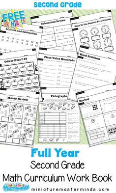 No Prep Second Grade Math Curriculum Full Year A full years worth of second grade math work and practice. This is a page work book that takes you from place value to money to… Homeschooling 2nd Grade, First Grade Curriculum, 2nd Grade Math Worksheets, Homeschool Worksheets, Teaching Second Grade, Math Workbook, 2nd Grade Classroom, Second Grade Math, Homeschool Curriculum