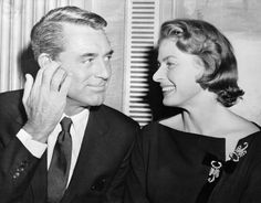 Cary Grant and Ingrid Bergman---He was very good friends with his colleague Ingrid Bergman.Cary was one of the few who SUPPORTED her throughout her notorious affair with director Rossellini and he accepted her Best Actress Oscar for her in 1958 while she was in exile in Italy.