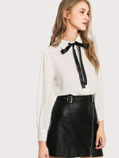 dc79fcc3528d28 Bow Tie Neck ShirtFor Women-romwe Business Casual Outfits