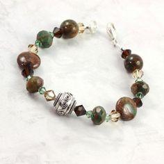 Perfect for fall! Green Opal Bracelet Gemstone Brown Green Crystal Woodland Fashion #opal #october #earthy