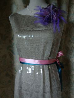 Vintage Sequined Dress Part Skirt Gray Fabric with by AnnasDream, $28.00