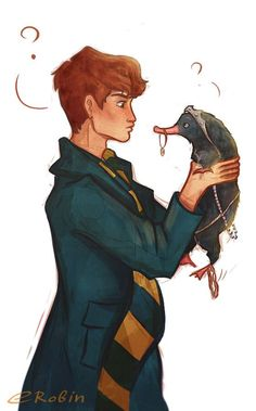 Newt scamander and the niffler moments - harry potter harry Fanart Harry Potter, Arte Do Harry Potter, Harry Potter Drawings, Harry Potter Universal, Harry Potter Fandom, Harry Potter World, Fluffy Harry Potter, Hogwarts, Scorpius And Rose