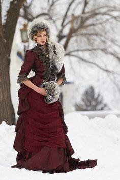 Russian Winter Wedding Inspiration. Very nice 1800s replica, made more modern.