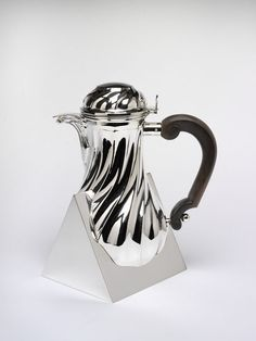 "design-is-fine: "" Gabriele De Vecchi, Coffee pot, 1983 "" Chocolate Pots, Chocolate Coffee, Silver Teapot, Italian Art, Beautiful Mess, Tea Party, Objects, Metal, Accessories"