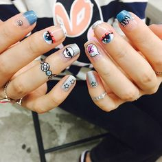 Psychedelic Nail Stickers: Eyes, Lips, Stars, Graphics