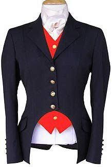 Cutaway Dressage Jacket...I love how it highlights the colored vest. I would do a pink vest of course and only if my my stomach was flat.
