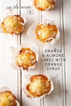 Orange and almond cakes with orange syrup