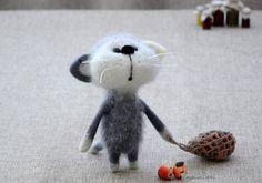 Nadel gefilzt Katze - MADE TO ORDER - Nadel gefilzte Tier - Home Dekor - weiche Skulptur - Faser Kunst - Geschenk