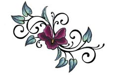 Cool Purple Flower Tattoo