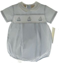 Carriage Boutique Baby Boys Blue Striped Sailboat Bubble