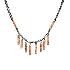 TOODLEBUNNY Collection  M I X E D M E T A L S - Petit copper 🔸 bar fringe with gunmetal chain. Wear this by itself or looks awesome layered with longer pieces.